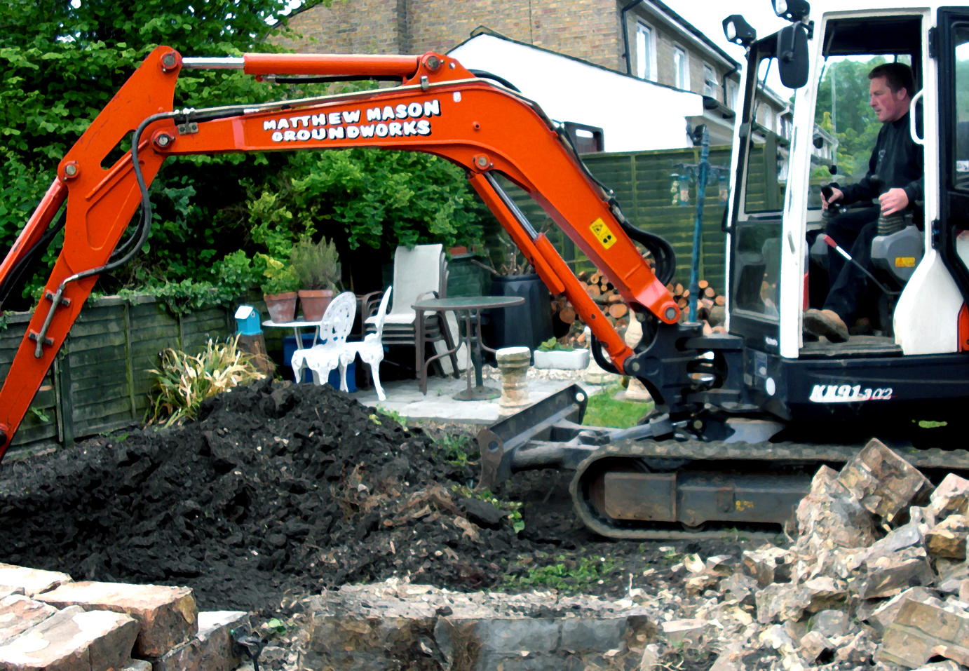 Building groundworks for house extension